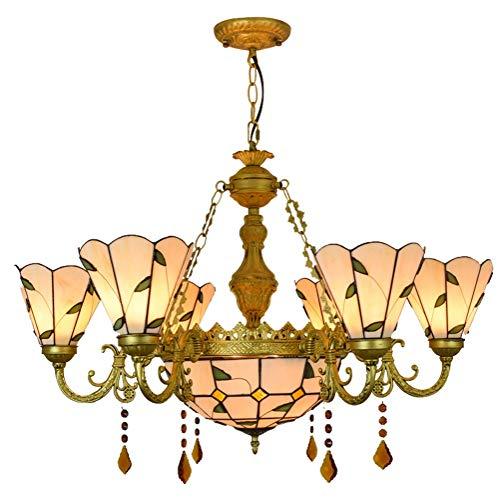 Chandelier 32 'Tiffany Style simple de hojas verdes lámparas de vidrio manchado Shades 6 Araña Araña con 12 pulgadas Lámpara colgante de techo invertido para Lobby Sala de estar Restaurante Bar Las pa