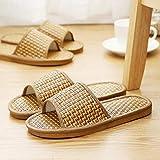 ypyrhh Chanclas para hombre, estilo casual, zapatilla de bambú para abrigo, para parejas, piso en casa, color primario, 36-37, zapatos de casa para piscina