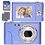 Digitalkamera, FHD 1080P 36.0 MP Mini Videokamera Wiederaufladbare Fotokamera Digitalkamera mit 32GB SD-Karte 16X Digitalzoom, Kompaktkamera für Kinder Studenten Teenager Erwachsene-Lila