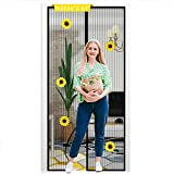 36x83 Inch Magnetic Screen Door Mesh, Full Frame Magic Tape Mesh Door Cover for Front Door and Home Outside Kids Pets Walk ,Durable Polyester Middle Opening Screen Doors with 5 Sunflower Decoration…