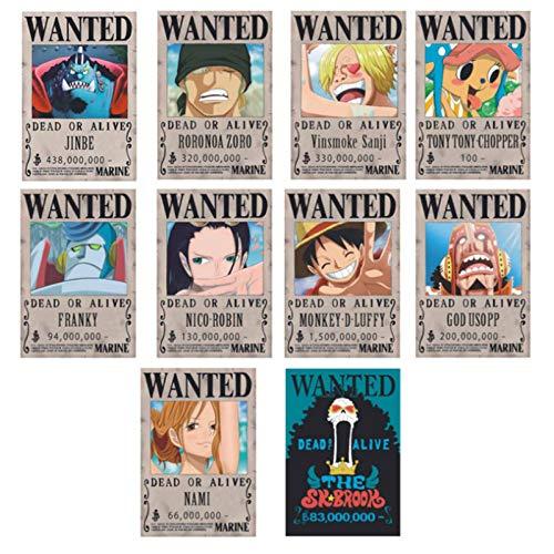 ruggito Carteles de One Piece Wanted de 28,5 cm × 19,5 cm, póster de Papel Kraft de Nueva edición, Luffy 1.500 Millones, Juego de 10