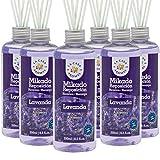 La Casa de los Aromas, Set de 6 x 250ml Ambientadores Mikado Lavanda para Reposición con Varillas, Difusor Líquido de Aroma Lavanda, Perfume Duradero para el Hogar, Baño, Casa - 6x250 ml
