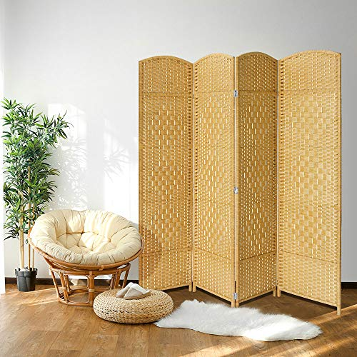 JOSTYLE Room Divider 6ft. Tall Extra Wide Extra Wide Privacy Screen, Folding Privacy Screens with Diamond Double-Weave Room dividers and Freestanding Room Dividers Privacy Screens(Natural, 4-Panel)