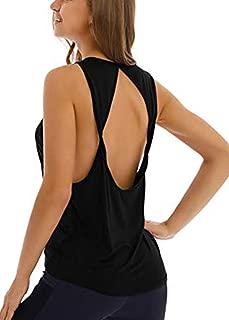 Yucharmyi Women's Sexy Twist Open Back Activewear Workout Tops Yoga Shirt Exercise Tank Tops