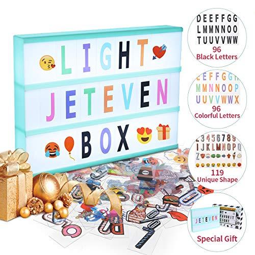 Jeteven Boîte Lumineuse avec 311 Lettres Coloris Cinéma Boîte Lumineuse A4 Enseigne Lumineuse LED avec 210 Lettres et Symboles Décoration