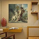 N / A Caballo Devora Lienzo Humano Pintura Cartel impresión mármol Pared Arte Pintura decoración Pintura Moderna decoración del hogar Sin Marco 20x20 cm