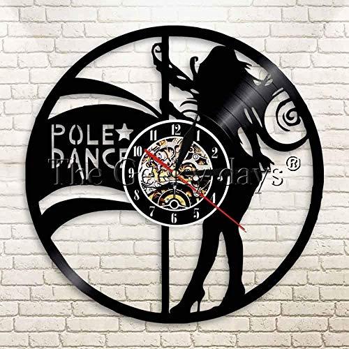 xiadayu Pole Dance Vinilo Reloj de Pared Mujer Striptease Girl Reloj de Pared Bailarina Moderna Colgante de Pared decoración de Arte