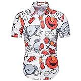 Camisas Formales de los Hombres, botón de algodón Abajo de la Camisa Hawaiana de Manga Corta, colocación de Moda,Rojo,L