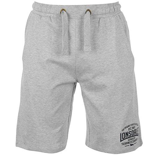 Lonsdale - Pantaloncini leggeri da boxe da uomo, Uomo, Grigio Marl, S