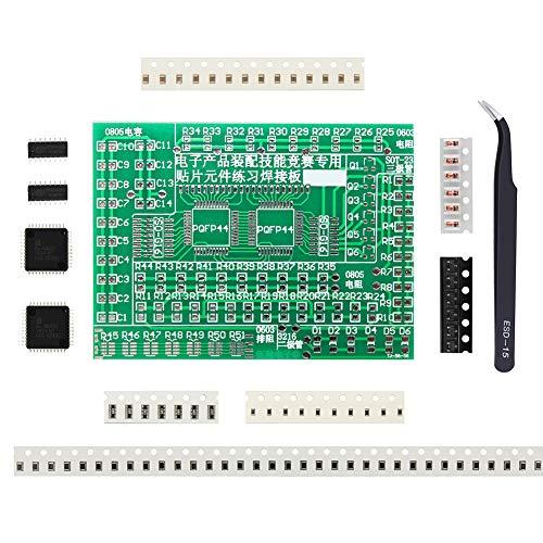 IZOKEE SMD SMT Komponenten Übungsplatine Schweißen Praxis Leiterplatte Löten Training Kits mit Tutorial und Pinzette für Anfänger