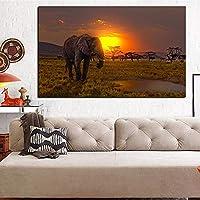 キャンバス画像アフリカゾウサンセット風景動物絵画モダンウォールキャンバスアート画像リビングルーム40x60cmフレームなし