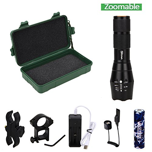 VASTFIRE 350 Yard Green Hunting Light Zoomable Flashlight Hog Predator Lights with Pressure Switch Picatinny Rail Mount 1 Inch to 30mm Scope Mount Gift Carring Case