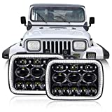 TRUCKMALL 5x 7 7x 6 inch LED Headlights Set with Halo DRL Turn Signal, Compatible With Jeep Cherokee XJ Wrangler YJ Comanche MJ Corolla Tacoma Ford F350 Pickup Car Truck Van Black