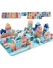 مجموعة لعب مكعبات بناء خشبية من 133 قطعة بتصميم المدينة الكلاسيكية واحجية بساط واشكال لعب تعليمية قابلة للتكديس مع 48 قطعة للاطفال من ام ان جيميم