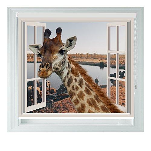 3D Giraffe mit verschiedenen Größen, Vinyl, Schwarz, Schlafzimmer, Rollo Jalousie für Badezimmer, Küche und Wohnwagen AOA®, 3ft/91cm