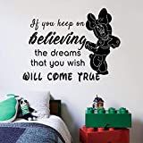 Keep On Believing Quote Minnie Mickey Disney Cartoon Quotes Wall Sticker Art Decal for Girls Boys Room Bedroom Nursery Kindergarten Fun Home Decor Stickers Wall Art Vinyl Decoration Size (27x30 inch)
