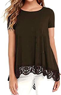 Comaba Womens Classics Short-Sleeve Solid Tee Lace Splice Blouse Shirt