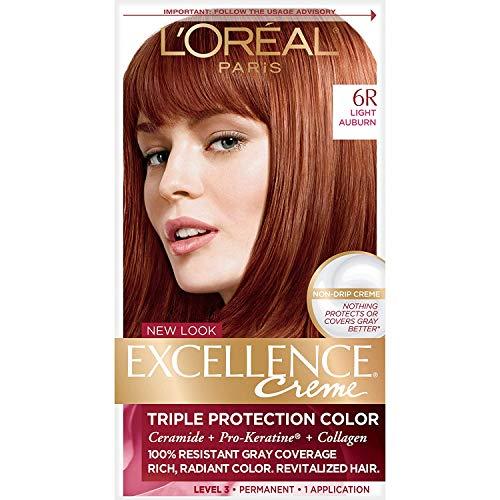 L'Oreal Paris Excellence Creme Permanent Hair Color, 6R Light Auburn, 100% Gray Coverage Hair Dye, Pack of 1
