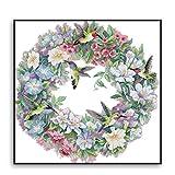 Proumhang 11 CT Kits de bordado DIY Mantel de punto de cruz para bordar 3 hilos Aida Canvas Impreso 65x64cm: El arte del colibrí
