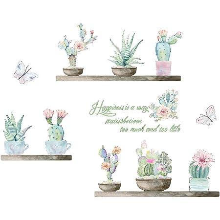 VORCOOL Creativo Cactus Flor Mariposa Pegatinas de Pared para Sala de Estar decoración de la Cama Tatuajes en casa Planta de Bricolaje Arte Mural