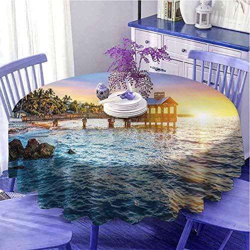 Estados Unidos impermeable mesa redonda paño muelle en la playa en Key West Florida EE.UU. Tropical verano paraíso regalos para las mujeres diámetro 43 pulgadas azul claro amarillo verde