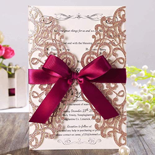 Hosmsua 20 x lasergeschnittene Hochzeitseinladungskarten mit burgunderfarbenem Band und Umschlägen für Brautparty Verlobung Geburtstagsparty Roségold Glitzer, 20 Stück