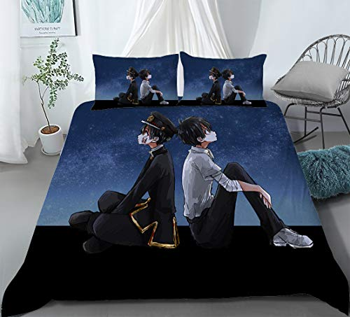 Dgdgd Toilet-Bound Hanako-kun Yugi Amane Anime 3 Piece Comforter Set 3D Printing Bedding Soft Polyester Best Gifts for Anime Fans Room (1 Quilt Cover + 2 Pillowcase) (US-Queen: 228x228cm,K)