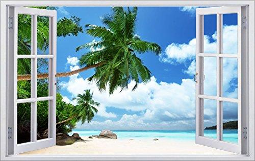 Karibik Strand Meer Palmen Urlaub Wandtattoo Wandsticker Wandaufkleber F0325 Größe 60 cm x 90 cm