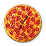 LYHZXC Reloj De Pared Pepperoni Pizza Reloj De Pared Restaurante Italiano Decoración Reloj-C