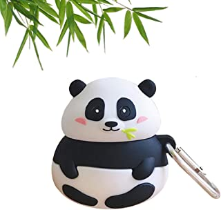 BONTOUJOUR AirPods Case, Super Cute Creative Funny Fat Sitting Panda Eating Bamboo AirPods Case, Lovely Animal Style Soft Silicone Earphone Protection Skin for AirPods1&2+Hook -Bamboo Panda