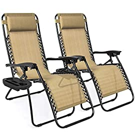Best Choice Products Set of 2 Adjustable Steel Mesh Zero Gravity Lounge Chair Recliners w/Pillows and Cup Holder Trays… 10 LOCKABLE RECLINING SYSTEM: Smoothly glides into an ergonomic zero-gravity position, with removable elastic cords that immediately adjust to your body's weight PORTABLE DESIGN: Lightweight, foldable design makes these an easy addition to your next trip to the park, beach, or your child's next sporting event CONVENIENT & DETACHABLE TRAY: Removable tray is built with two cup holders, a phone holder, and a tablet holder so you never have to be far from your favorite drinks or media devices!