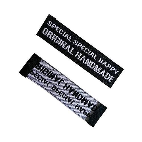 Großhandel Lager schwarz handgemachte gewebte Etiketten für Kleidung Tags Handarbeit Nähen Etiketten für Taschen Geschenkschuhe Original handgemachte Tags, 50 Stück
