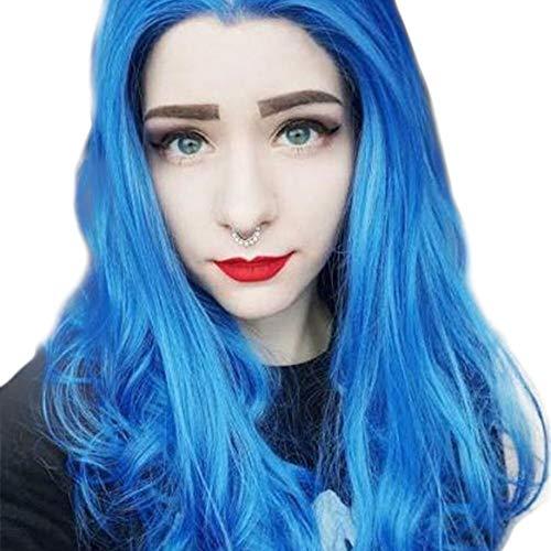 Postiches naturelles Fashian Mesdames Bleu Dans La Perruque Longue De Cheveux Bouclés Anime Cos Perruque En Dentelle Avant De Rouleau Long Wave Ponytail pour les femmes
