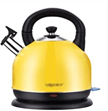 SHUUY Electric Kettle Modern Stainless Steel Whistling Tea Pot for with Ergonomic Handle (Color : Yellow)