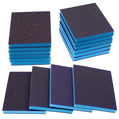 BokWin 16Pcs Sanding Sponge Grit Sanding Blocks, Washable and Reusable Sand Sponge Kit (Including 4 Assortment Grade)