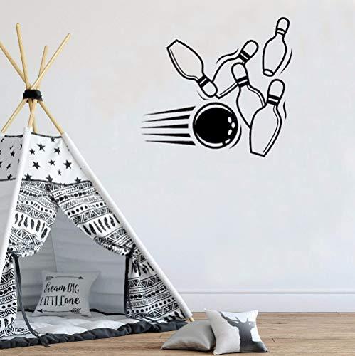 ShiyueNB Bowling Pin Ball Muursticker Gym Studio Afneembare vinyl Kunstwanddecoratie Binnen Moderne raamsticker 46 x 42 cm