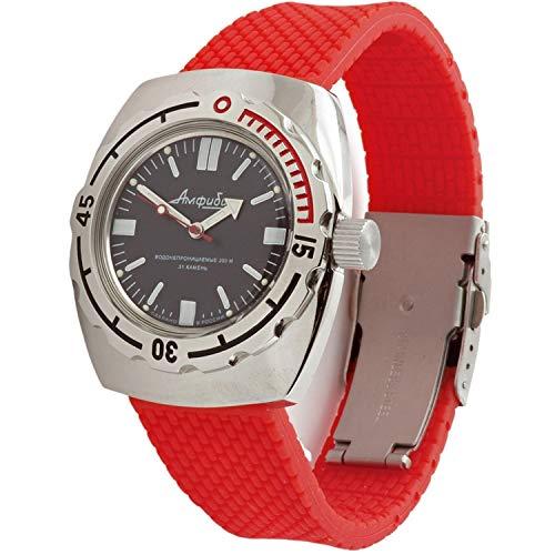 Vostok Amphibian Scuba Dude 090916 - Reloj de Pulsera automático para Hombre, Color Rojo
