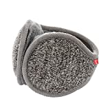 Surblue Unisex Ladies Warm Knit Mink Cashmere Winter Pure Color Earmuffs with Fur Earwarmer, Adjustable Wrap,Deep Gray,Large