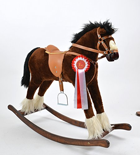 ALANEL T Grand cheval à bascule de grande qualité fait main Marron