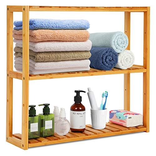 Estantería de bambú para baño o cocina, 3 niveles, estantería de almacenamiento para plantas, armario de pared, toallero con altura ajustable, para baño, salón, cocina, 60 x 15 x 54 cm