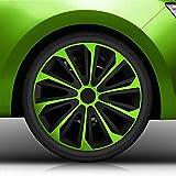 Autoteppich Stylers 16' 16 Zoll Radkappen/Radzierblenden Nr.006 (Farbe Schwarz-Grün), passend für Fast alle Fahrzeugtypen (universal)