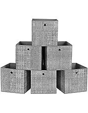 SONGMICS Pudełka do przechowywania, zestaw 6, składane pudełka z tkaniny, włóknina, kostki, kosze do przechowywania, organizer na zabawki, ubrania, cętkowany szary RFB02LG-3