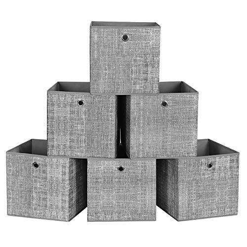 SONGMICS Boîte de Rangement, Lot de 6, Panier, en Tissu Non-Tissé, Coffret de Rangement pour Jouets, Gris Chiné RFB02LG-3