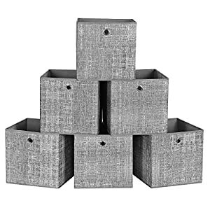 SONGMICS Cajas de Almacenamiento, Juego de 6 Cubos de Almacenamiento Plegables de Tela no Tejida, Organizadores de Ropa, Juguete, Gris Brezo RFB02LG-3