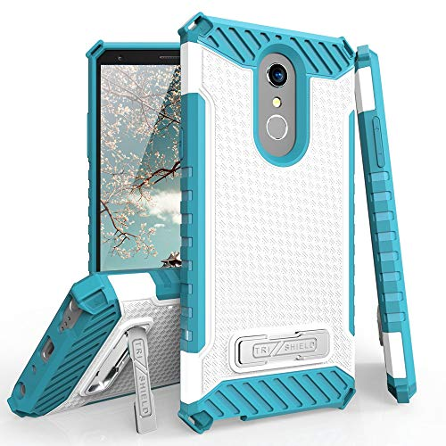 TJS LG Stylo 4 2018/LG Stylo 4 Plus/LG Q Stylus/LG Q Stylus Plus/LG Q Stylus Alpha Phone Case, with Metal Kickstand Dual Layer Hybrid Protection Shock Absorbing Resist Rugged Shockproof (Blue/White)