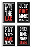 Damdekoli Video Game Posters - Set of 4 - Black Red (11 x 17 Inches)