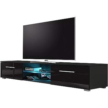 Edith – TV-Lowboard / TV-Bank / Fernsehschrank (140 cm, Schwarz Matt / Schwarz Hochglanz, LED in Blau)