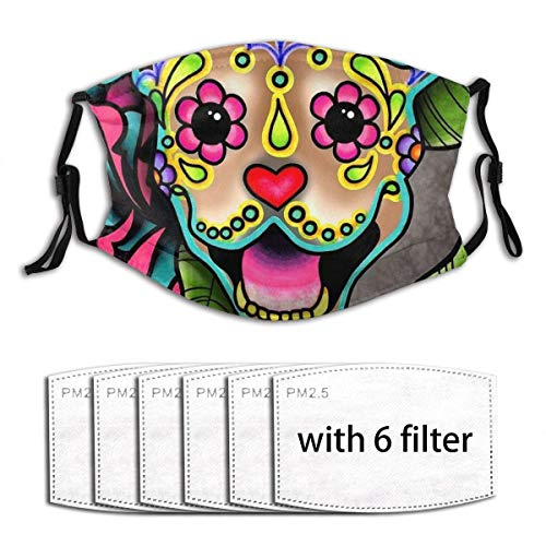 Smiling Pit Bull in Fawn - Day of The Dead Happy Pitbull - Sugar Skull Dog Kids Girls Boys Adjustable Ear Loops Face Mouth Anti Pollution Washable with Filters