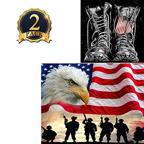 5D DIY Diamond Painting Kits for Adults Patriotic American Flag Crystal Rhinestone Embroidery Cross Stitch Arts Craft Canvas for Wall Decor Eagle and Soldiers, Military Shoes 2 Pack by Bemaystar