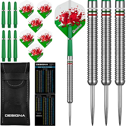 Designa National Patriot Darts Set 22g/24g Tungsten Nations Flag Flights, Stems, Case (Wales, 22g)